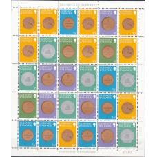 Монеты на марках Гернси 1979, Полный комплект 4 малых листа