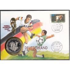 Футбол Уганда 1993, ЧМ США-94 конверт с монетой 1000 шиллингов Уганды ЧМ США-94