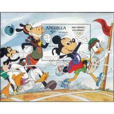 Дисней Ангилья 1984, Олимпиада Лос Анджелес-84 блок Mi: 53-2 надпечатка ОЛИМПИЙСКИЕ КОЛЬЦА