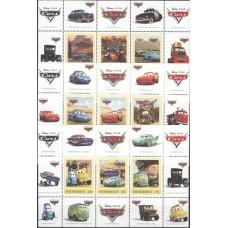Дисней Австрия 2006, Мультфильм Тачки, комплект 3 малых листа (редкий)
