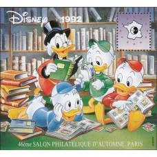 Дисней Франция 1992, Филателистический салон Париж-92, сувенирный лист с зубцами