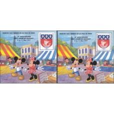 Дисней Франция 1997, Филателистический салон Париж-97, комплект 2 сувенирных листа (очень редкий)
