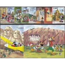 Дисней Сент-Винсент 1989, Герои Диснея и День Независимости США, выставка EXPO-89, полная серия Mi: 1358-1367