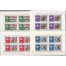Венгрия 1961, Птицы Бабочки Цветы Флаг, полный комплект в малых листах