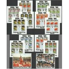Футбол Антигуа и Барбуда 1993, ЧМ США-94, полная серия в малых листах с блоками