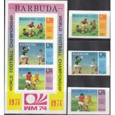 Футбол Барбуда 1974, ЧМ ФРГ-74 Победители, полная серия без зубцов НАДПЕЧАТКА