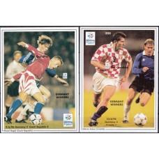 Футбол Гамбия 1996, ЧЕ Англия-1996, 2 блока без зубцов(редкие)