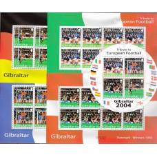 Футбол Гибралтар 2004, ЧЕ Португалия-2004, полный комплект в малых листах с блоком