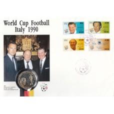 Футбол Ниуэ 1989, ЧМ Италия-90 КПД марок Mi: 753-756 c монетой 5 долларов Ниуэ Франц Бекенбауэр (очень редкая)