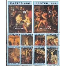 Живопись Гамбия 1992, Религия Иисус Христос снятие с Креста, полная серия