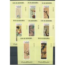 Живопись Рас Эль Хайма 1970, Японская живопись, серия 8 марок в люкс-блоках Mi: 426-433 (редкая)