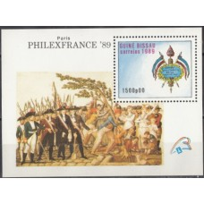 Военная форма Гвинея Биссау 1989, Военная форма 200 лет Французской революции фил-выставка, блок Mi: 279