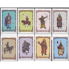 Военная форма Монголия 1997, Солдаты монгольской армии разных времен, серия 8 марок