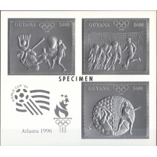 Олимпиада Гайана 1993, Атланта-96, марки Mi: 4294_4296_4298 в блоке с зубцами СЕРЕБРО КАРТОН ОБРАЗЕЦ (редкий)