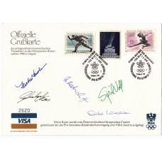 Олимпиада Австрия 1964, 1988 Калгари спецгашение Официальный выпуск VISA с автографами