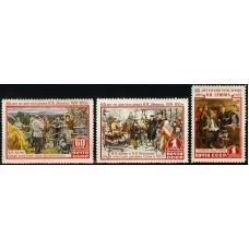 СССР 1955, 1722-1724, 85 лет со дня рождения В. И. Ленина серия 3 марки