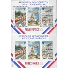 История Почты Сан Томе и Принсипе 1982, Почтовый транспорт PHILEXFRANCE-82, комплект 2 блока (с зубцами и без зубцов)