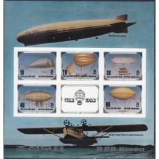 Воздухоплавание КНДР 1982, Воздушные шары, блок Mi: 134 без зубцов (редкий)