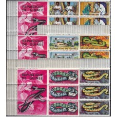 Фауна Гвинея 1967, Змеи Африки, 3 серии из листа с купонами Mi: 431-436
