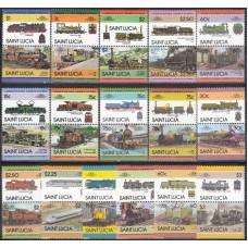 Железная дорога Сент Люсия 1984-1986, Набор марок 32 штуки
